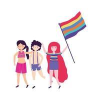 pride parade lgbt community, män och kvinna med flagg regnbåge