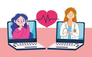 Frau mit Müdigkeit Doktor Laptops und Herz-Puls-Vektor-Design