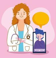 kvinnadoktor med smartphone och man med torr hostvektordesign vektor