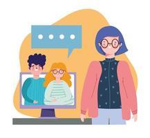 onlineparty, födelsedag eller träffa vänner, kvinna som pratar med ett par datorsamtal vektor