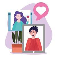 Online-Party, Geburtstag oder Treffen mit Freunden, Smartphone Mann und Frau Website sprechen Liebe