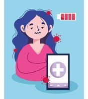 kvinna med smartphone och batteri vektor design