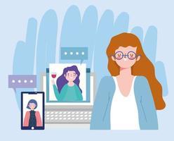 online-fest, födelsedag eller träffa vänner, kvinnor som pratar datorns smartphone-webb vektor