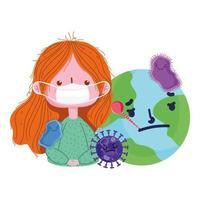 Covid 19 Coronavirus-Pandemie, Mädchen mit medizinischer Maske und kranker Welt