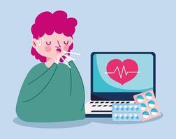 Mann mit Laptop Herzpuls und Pillen Vektor-Design