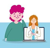 man kvinna läkare och laptop vektor design