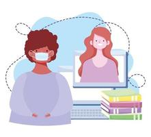 onlineutbildning, student med mask och lärarböcker för bärbara datorer, kursutveckling med internet vektor
