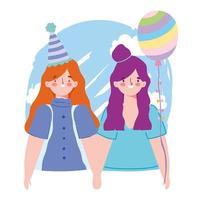 online fest, födelsedag eller träffa vänner, två tjejer med firande för hattballongdekoration vektor