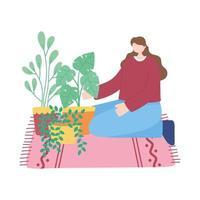 stanna hemma, flickan tar hand om krukväxter, självisolering, aktiviteter i karantän för koronavirus vektor