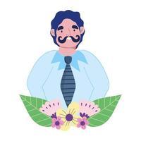 glad fars dag, ung pappa med blommor lämnar tecknad vektor