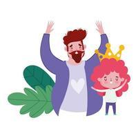 glad fars dag, pappa och son med krona tecknad kort vektor