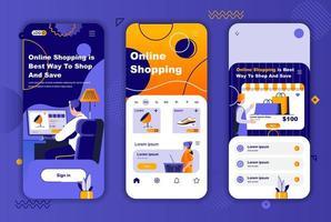 Online-Shopping einzigartiges Design-Kit für Geschichten aus sozialen Netzwerken. vektor
