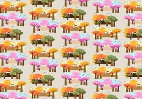 Baobab Trees Afrika Mönster Vektor