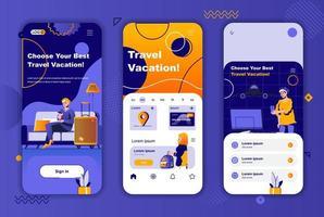 Reiseurlaub einzigartiges Design-Kit für soziale Netzwerke Geschichten. vektor