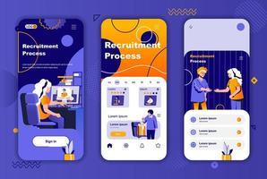 Rekrutierungsprozess einzigartiges Design für Geschichten aus sozialen Netzwerken. vektor
