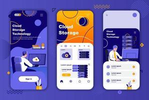 Einzigartiges Design-Kit für Cloud-Speicher für Geschichten aus sozialen Netzwerken. vektor