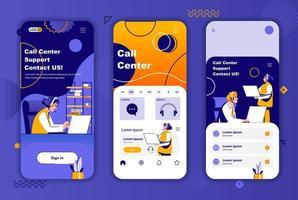Call Center einzigartiges Design-Kit für Geschichten aus sozialen Netzwerken.