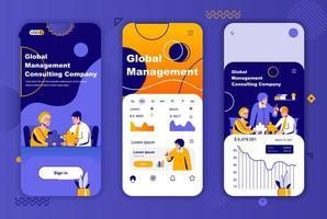 globales Management einzigartiges Design-Kit für Geschichten aus sozialen Netzwerken. vektor