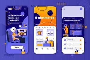 e-handel unikt designpaket för berättelser om sociala nätverk. vektor