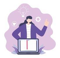 Online-Training, Frau mit Laptop Lehrbuch, Bildung und Kurse lernen digital vektor