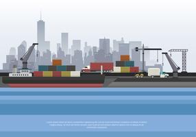 Hamn Med Container Och Båt Vektor Illustration