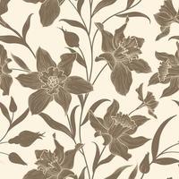 sömlös blommönster. blomma narcissus bakgrund. blommig kakel dekorativ textur med blommor. vektor