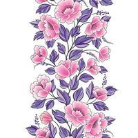 sömlös blommönster. blomstra kaklade kant bakgrund med blomma. vektor