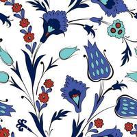 nahtloses Blumenmuster im Retro-orientalischen Zierstil. abstrakte Zierblumen. Blumenhintergrund vektor