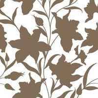 sömlös blommönster. blomma slihouette bakgrund. blommig kakel dekorativ textur med blommor. våren blomstrar trädgården vektor