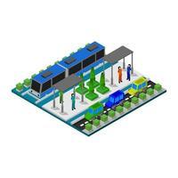 Straßenbahnhaltestelle isometrisch auf weiß