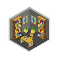 isometrischer Bibliotheksraum auf weißem Hintergrund