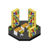 isometrischer Bibliotheksraum im Vektor auf weißem Hintergrund