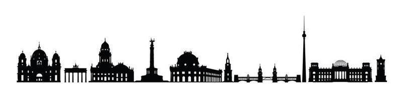 berlin stadens silhuett. varus landmärken silhuett av Berlin, Tyskland. resa tyskland berömda platser Ikonuppsättning