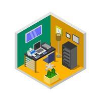 isometrisk kontorsrum på vit bakgrund vektor