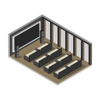 isometrisk biografrum i vektor på vit bakgrund