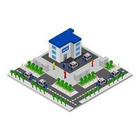 isometrische Polizeistation auf weißem Hintergrund