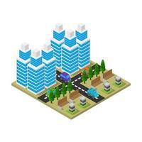 isometrisk stad på vit bakgrund vektor