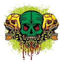 färg grunge skalle vektor