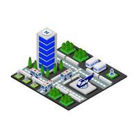 isometrisches Krankenhaus auf weißem Hintergrund vektor