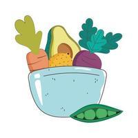 Schüssel Schüssel Avocado Karotte Zitrone und Erbsen Frischmarkt Bio gesunde Lebensmittel mit Obst und Gemüse