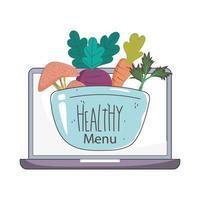 bärbar datorskål med grönsaker och frukter färsk marknad ekologisk hälsosam mat vektor