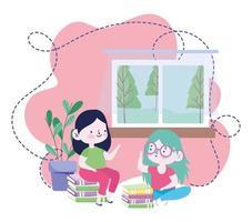 online-utbildning, studentflickor med böcker staplade på hemmet, webbplats och mobila utbildningskurser