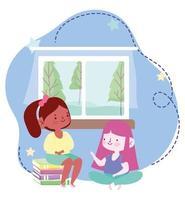 Online-Bildung, Studentinnen mit Buch im Zimmer zu Hause, Website und mobile Schulungen