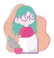 Online-Bildung, Studentin mit offenem Buch und Apfel, Website und mobilen Schulungen
