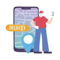 covid-19 coronaviruspandemi, leveransservice, leveransman med mobil GPS-navigeringskortnål, bär skyddande medicinsk mask vektor