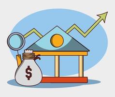 Geldgeschäft Finanzbank Tasche Geldanalyse Aufwärtstrend vektor