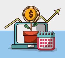 pengar affärs finansiell bärbar dator anläggning med mynt och kalender
