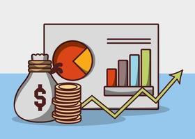 Geldgeschäft Finanzstrategie Bericht Diagramm Tasche Münzen vektor