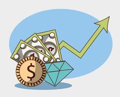 pengar affär finansiella mynt sedlar diamant förmögenhet pil upp