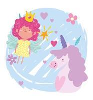 liten älvprinsessa med trollstav och tecknad enhörning